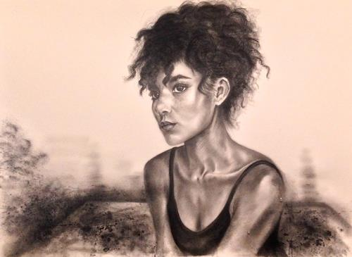 Leon-Art, Contemplation #3, People: Women, People: Portraits, Expressive Realism, Expressionism