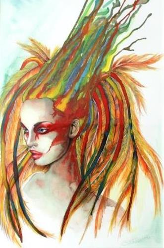 Elisabeth Burmester, Inca Princess, People: Women, Symbol, Contemporary Art, Abstract Expressionism