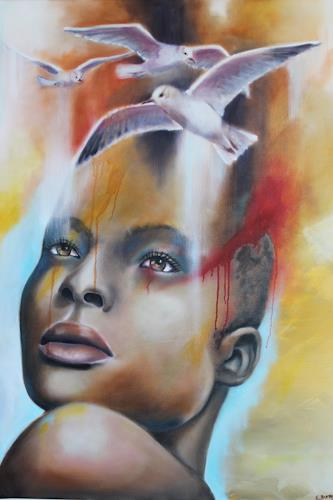 Elisabeth Burmester, Die Gedanken sind frei, People, Miscellaneous Emotions, Contemporary Art, Expressionism