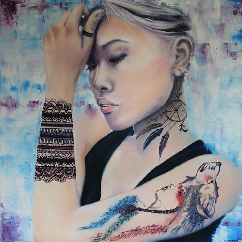 Elisabeth Burmester, Ich bin Ich (tätowiert), People: Women, Emotions: Pride, Contemporary Art, Expressionism