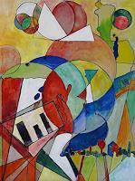 Zvonimir-Brumec-People-Women-Music-Instruments-Modern-Age-Abstract-Art-Action-Painting