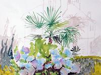 P. Vetsch, Hortensien vor Hanfpalme