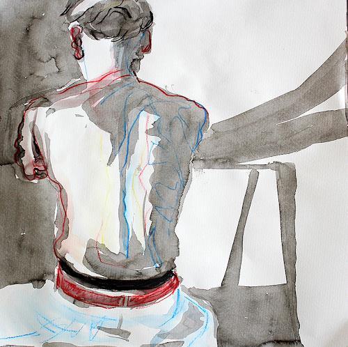Peter Vetsch, Rücken im Licht, People: Men, Modern Age, Expressionism