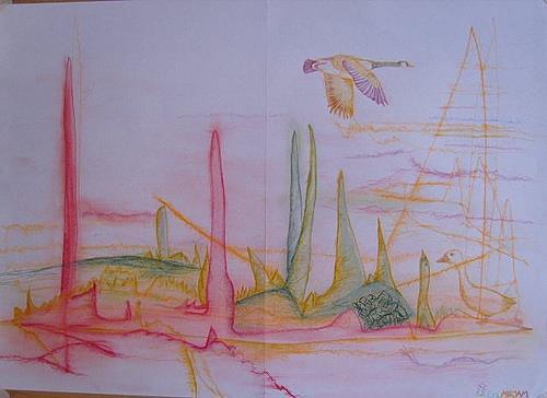 Mirjam Schadendorf, Gänse, Animals: Air, Miscellaneous Landscapes, Primitive Art/Naive Art, Expressionism