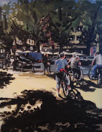 Luc Rod, Licht III Hohenzollernring Köln, Traffic: Bicycle, Neo-Impressionism, Expressionism