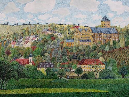 dieter jacob, Mainberg, Landscapes: Mountains, Architecture, Pointillism, Expressionism