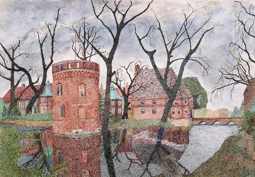 dieter jacob, Schloss Bladenhorst, Miscellaneous Buildings, Landscapes: Autumn, Pointillism, Expressionism