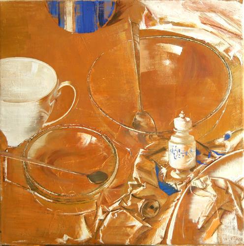 Tanja Kolinko, Stillleben mit Geschirr, Still life, Interiors: Rooms, Realism, Abstract Expressionism