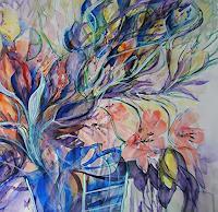 Christine Steeb, Blumen in blauer Vase