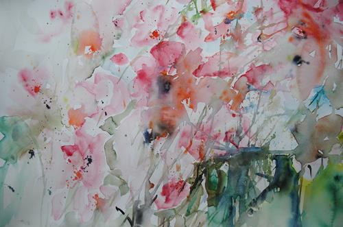 Christine Steeb, Cosmeen, Plants: Flowers, Nature, Contemporary Art, Expressionism