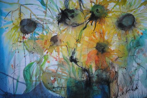 Christine Steeb, N/T, Plants, Plants: Flowers, Contemporary Art, Abstract Expressionism
