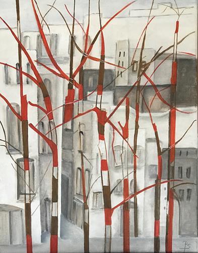Rosemarie Salz, Rote Bäume, Abstract art, Abstract Art