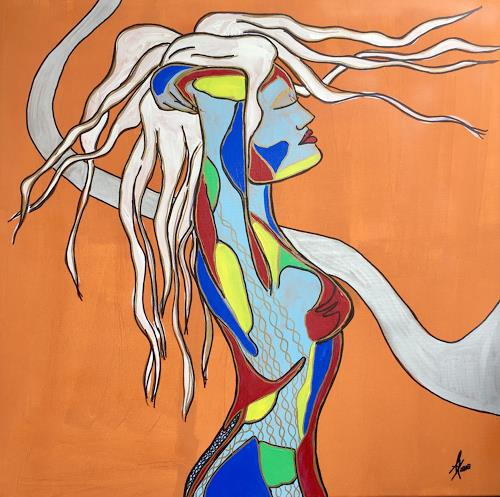 Angela Kirchmayer, Arrived, People: Women, Erotic motifs: Female nudes, Abstract Art, Abstract Expressionism