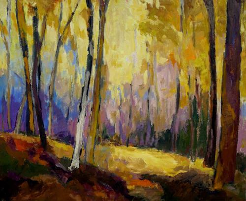 Monika Dold, Lila Schatten, Landscapes: Autumn, Abstract art, Abstract Art