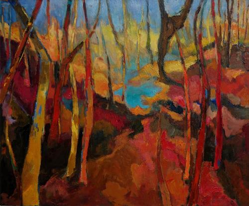 Monika Dold, Der türkise See, Landscapes, Abstract Art