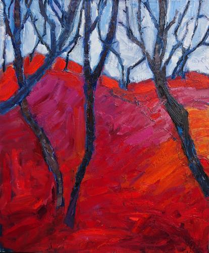 Monika Dold, Bäume lieben rot, Landscapes, Miscellaneous Landscapes, Abstract Art