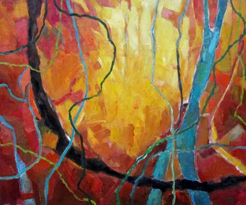 Monika Dold, Herbstfeuer, Landscapes: Autumn, Landscapes: Hills, Abstract Art, Abstract Expressionism