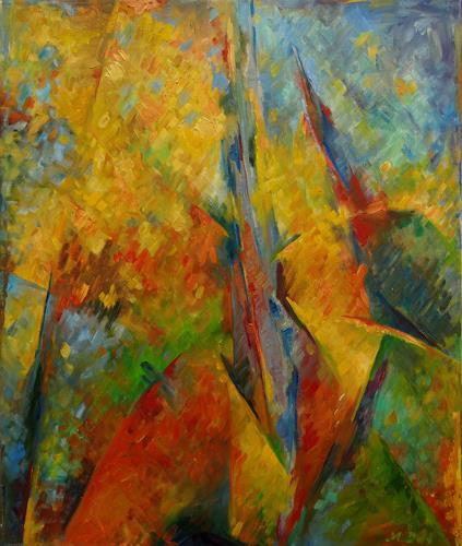 Monika Dold, Goldener Herbst, Abstr. II, Landscapes: Autumn, Nature: Earth, Abstract Art