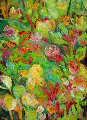 Monika Dold, Endlich Frühling, Abstract art, Plants: Flowers, Colour Field Painting