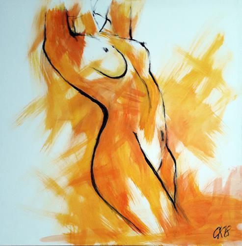 Caroline Roling, gelber akt, Erotic motifs: Female nudes, Contemporary Art
