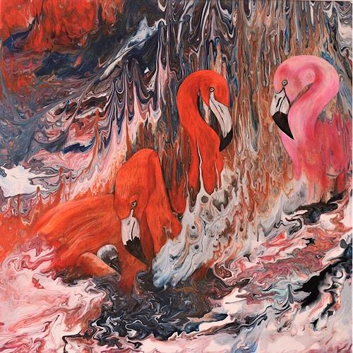 Beatrice Gugliotta, Flamingo - Familie, Animals: Air, Decorative Art, Modern Age, Expressionism