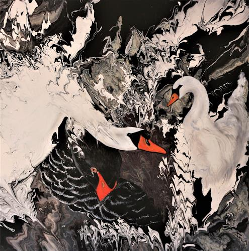 Beatrice Gugliotta, Schwanentanz, Animals, Nature, New Figurative Art, Expressionism