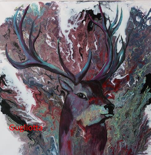 Beatrice Gugliotta, Hirsch, Animals, Nature, New Figurative Art