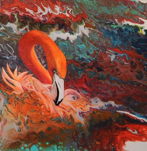 Beatrice Gugliotta, Flamingo, Animals, Fantasy, Contemporary Art, Expressionism
