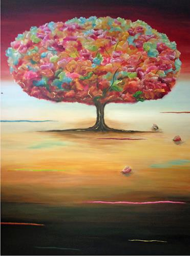 Angelina Casadei, Tree of Happiness, Fantasy, Poetry, Art Déco, Expressionism