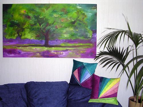 Angelina Casadei, Baum im Lavendelfeld mit passenden Design-Kissen, Landscapes, Fantasy, Colour Field Painting