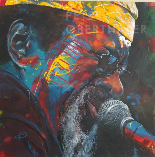 Peter Oberthaler, James Blood Ulmer, Music: Musicians, People: Portraits, Expressive Realism, Abstract Expressionism