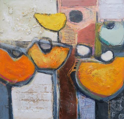 Angela Fusenig, Komposition mit Gelb II, Plants: Flowers, Miscellaneous Plants, Contemporary Art, Expressionism