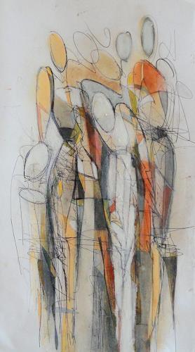 Angela Fusenig, Zeichnung figürlich, People: Women, People: Group, Contemporary Art