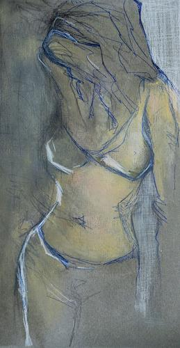 Angela Fusenig, Figur stehend, People: Women, Erotic motifs: Female nudes, Contemporary Art, Expressionism