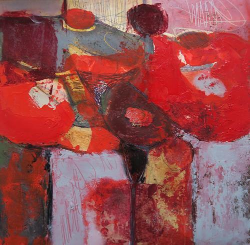 Angela Fusenig, Komposition mit Rot I, Abstract art, Plants: Flowers, Contemporary Art
