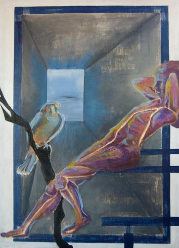 Claudia Erbelding, falke, People: Men, Animals: Air, Post-Surrealism, Abstract Expressionism