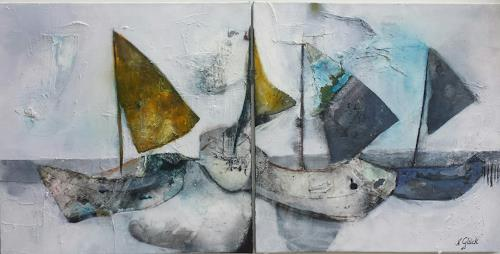 Nicole Glück, Gestrandet, Landscapes: Sea/Ocean, Abstract Art, Expressionism