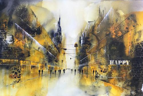 Nicole Glück, Cityscape: be happy, Abstract art, Abstract art, Abstract Art, Expressionism