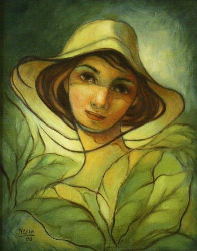 fernando de  Caso, Tabakpflanzerin, People: Women, Expressionism