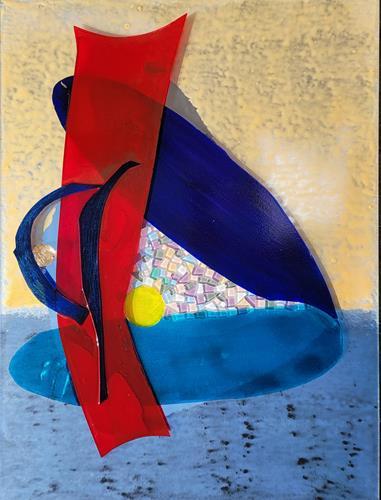 WWSt, Komposition mit Farbfeldern und Glasscherben 2, Abstract art, Colour Field Painting, Abstract Expressionism