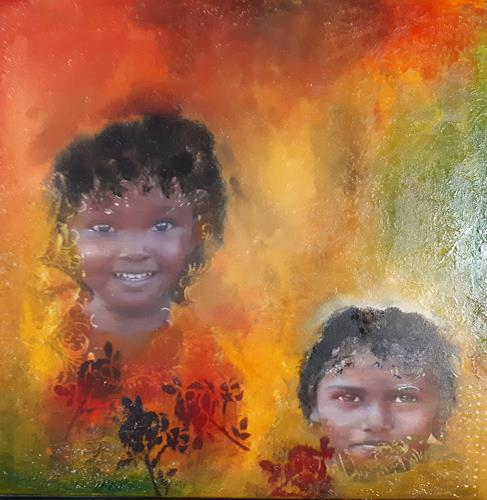Ludwig Baumeister, Ein Lächeln, People: Children, Abstract Art