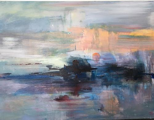 Olga Knoblauch, Sonne Ausgang, Landscapes, Abstract Art, Expressionism