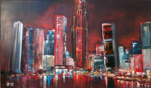 Claudia Beck, Singapur Skyline, Buildings: Skyscrapers, Abstract Art