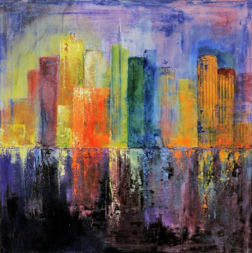 Claudia Beck, Skyscraper orange, Buildings: Skyscrapers, Abstract Art