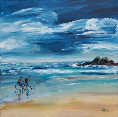 Claudia Beck, Bretagne, Fahrradfahrer, Landscapes: Sea/Ocean, Traffic: Bicycle, Expressive Realism