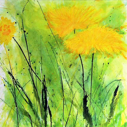 Marion Schmidt, Der Frühling naht, Plants: Flowers, Abstract art, Action Painting, Expressionism