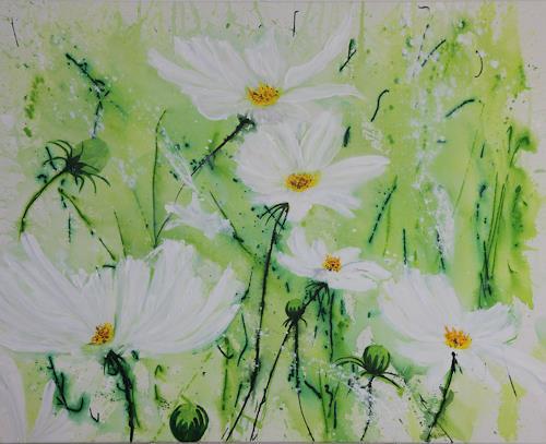 Marion Schmidt, Frühlingswiese, Plants: Flowers, Landscapes: Spring, Action Painting