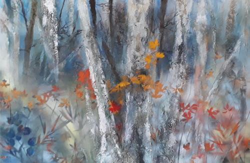Marion Schmidt, Somewhere, Landscapes: Plains, Plants: Trees, Action Painting