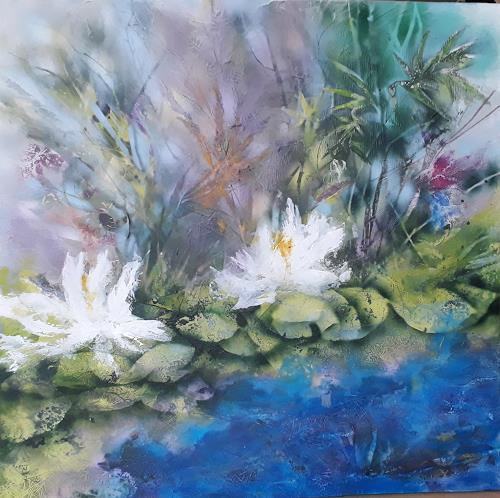 Marion Schmidt, Waterlilies, Landscapes: Sea/Ocean, Abstract art, Abstract Art