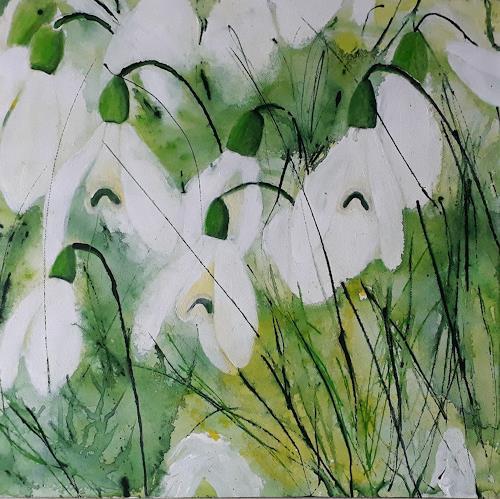 Marion Schmidt, Der Frühling naht, Plants: Flowers, Abstract art, Abstract Art, Expressionism